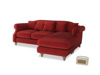 Large right hand Sloucher Chaise Sofa in Rusted Ruby Vintage Velvet