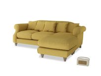 Large right hand Sloucher Chaise Sofa in Easy Yellow Clever Woolly Fabric