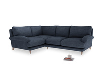 Large Left Hand Slowcoach Corner Sofa in Selvedge Blue Clever Laundered Linen