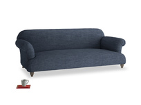 Large Soufflé Sofa in Selvedge Blue Clever Laundered Linen