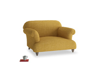 Soufflé Love seat in Mellow Yellow Clever Laundered Linen