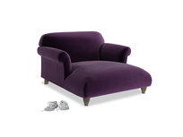 Soufflé Love Seat Chaise in Deep Purple Clever Deep Velvet