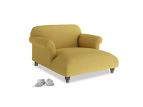Soufflé Love Seat Chaise in Easy Yellow Clever Woolly Fabric