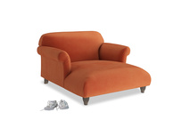 Soufflé Love Seat Chaise in Old Orange Clever Deep Velvet