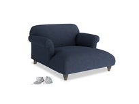 Soufflé Love Seat Chaise in Night Owl Blue Clever Woolly Fabric