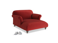 Soufflé Love Seat Chaise in Rusted Ruby Vintage Velvet