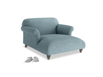 Soufflé Love Seat Chaise in Soft Blue Clever Laundered Linen