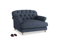 Truffle Love seat in Selvedge Blue Clever Laundered Linen