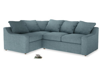 Large Left Hand Cloud Corner Sofa in Soft Blue Clever Laundered Linen