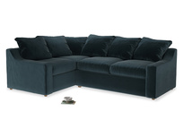 Large Left Hand Cloud Corner Sofa in Bluey Grey Clever Deep Velvet