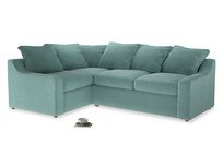 Large Left Hand Cloud Corner Sofa in Greeny Blue Clever Deep Velvet