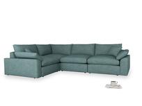 Large left hand Cuddlemuffin Modular Corner Sofa in Blue Turtle Clever Laundered Linen