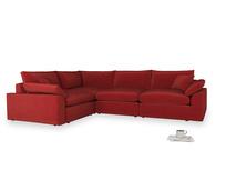 Large left hand Cuddlemuffin Modular Corner Sofa in Rusted Ruby Vintage Velvet