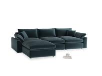 Large left hand Cuddlemuffin Modular Chaise Sofa in Bluey Grey Clever Deep Velvet