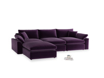 Large left hand Cuddlemuffin Modular Chaise Sofa in Deep Purple Clever Deep Velvet