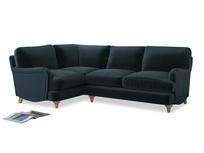 Large Left Hand Jonesy Corner Sofa in Bluey Grey Clever Deep Velvet