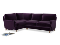 Large Left Hand Jonesy Corner Sofa in Deep Purple Clever Deep Velvet