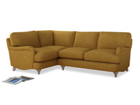 Large Left Hand Jonesy Corner Sofa in Mellow Yellow Clever Laundered Linen