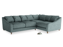 Large Right Hand Oscar Corner Sofa  in Anchor Grey Clever Laundered Linen
