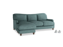 Large left hand Pavlova Chaise Sofa in Blue Turtle Clever Laundered Linen