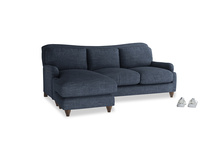 Large left hand Pavlova Chaise Sofa in Selvedge Blue Clever Laundered Linen