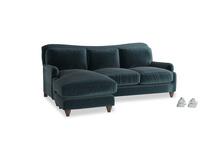 Large left hand Pavlova Chaise Sofa in Bluey Grey Clever Deep Velvet
