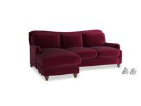 Large left hand Pavlova Chaise Sofa in Merlot Plush Velvet