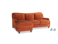 Large left hand Pavlova Chaise Sofa in Old Orange Clever Deep Velvet