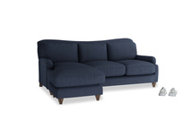 Large left hand Pavlova Chaise Sofa in Night Owl Blue Clever Woolly Fabric