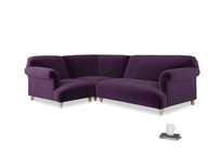 Large left hand Soufflé Modular Corner Sofa in Deep Purple Clever Deep Velvet with both arms