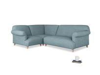 Large left hand Soufflé Modular Corner Sofa in Soft Blue Clever Laundered Linen with both arms