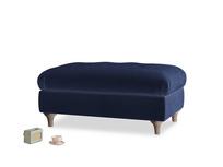 Rectangle Jammy Dodger Footstool in Goodnight blue Clever Deep Velvet