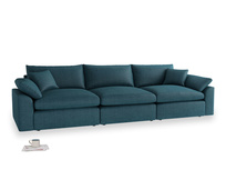 Large Cuddlemuffin Modular sofa in Harbour Blue Vintage Linen