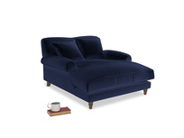 Crumpet Love Seat Chaise in Goodnight blue Clever Deep Velvet
