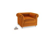 Humblebum Armchair in Spiced Orange clever velvet