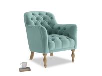 Reader Armchair in Greeny Blue Clever Deep Velvet
