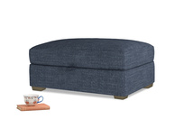 Bumper Storage Footstool in Selvedge Blue Clever Laundered Linen