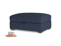 Bumper Storage Footstool in Night Owl Blue Clever Woolly Fabric