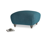 Small Square Homebody Footstool in Harbour Blue Vintage Linen