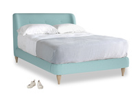 Double Puffball Bed in Adriatic washed cotton linen