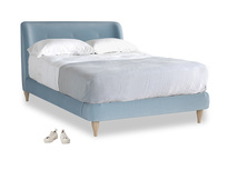 Double Puffball Bed in Chalky blue vintage velvet