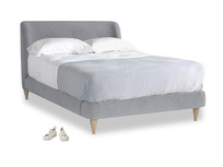Double Puffball Bed in Dove grey wool