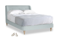 Double Puffball Bed in Duck Egg vintage linen