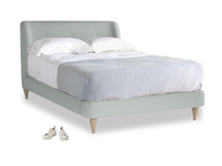 Double Puffball Bed in French blue brushed cotton