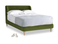 Double Puffball Bed in Good green Clever Deep Velvet