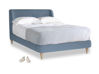 Double Puffball Bed in Nordic blue brushed cotton