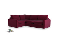 Large left hand Chatnap modular corner storage sofa in Merlot Plush Velvet with both arms