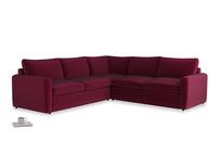 Even Sided  Chatnap modular corner storage sofa in Merlot Plush Velvet with both arms