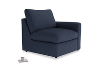 Chatnap Storage Single Seat in Night Owl Blue Clever Woolly Fabric with a right arm
