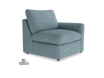 Chatnap Storage Single Seat in Soft Blue Clever Laundered Linen with a right arm
